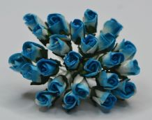 6mm DEEP TURQUOISE ROSE BUDS (L) Mulberry Paper Flowers